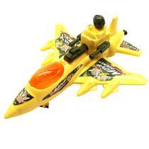 Avião de Brinquedo Militar a Corda que anda e Mexe as Arminhas Amarelo - Cim Toys