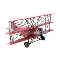 Avião De Hélice Triplano Vermelho 25cm Enfeite Metal Vintage - Drina