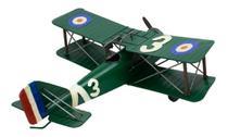 Avião Verde Asas Dupla Hélice Estilo Retrô - Vintage - Taimes