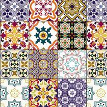 Azulejo Adesivo Lavável Coloridos Português Para Cozinha - Papel E Parede