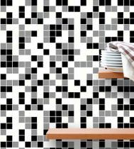 Azulejo Adesivo Lavável Pastilhas Em Tons De Preto Branco E Cinza + Kit Aplicação Completo - Papel E Parede