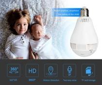 Baba eletrônica Lâmpada Espiã Infravermelho Ip Wifi Hd Panoramica 360 - Vr Cam