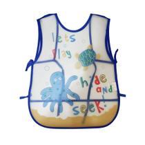 Babador Avental Impermeável com Cata Migalhas para Bebê Infantil Desenho de Animais Marinhos - Smart Lions