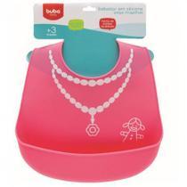 Babador de silicone rosa com pega migalhas - buba -