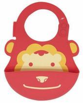 Babador impermeável silicone com coletor leão vermelho marcus marcus - mnmbb01-ln - Marcus & Marcus