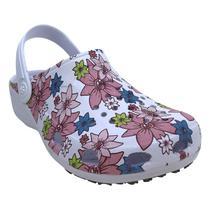 Babuche Feminino Profissional SoftWorks Mania EPI Antiderrapante Estampa Floral 2 Com Perfuros EVA BB32 - Branco - Soft Works
