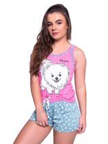 Baby Doll 4 Estações Pijama Com Tapa Olho Cachorrinho Adulto Curto Regata Mãe -