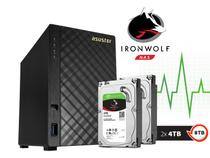 Backup Nas Com Disco Ironwolf Asustor As1002t8000 V2 Marvell Dual Core 1,6 Ghz 512mb Ddr3 Torre 8tb -