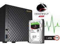 Backup Nas Com Disco Ironwolf Asustor As3104t8000 Intel Dual Core J3060 1,6ghz 2gb Ddr3 Torre 8 Tb -