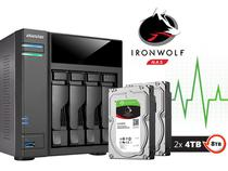 Backup Nas Com Disco Ironwolf Asustor As6104t8000 Intel Dual Core 1,6ghz 2gb Ddr3 Torre 08 Teras -