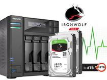 Backup Nas Com Disco Ironwolf Asustor As6204t32000 Intel Quad Core J3160 1,6ghz 4gb Ddr3 Torre 32tb -
