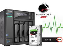 Backup Nas Com Disco Ironwolf Asustor As6204t4000 Intel Quad Core J3160 1,6ghz 4gb Ddr3 Torre 4tb - Austor