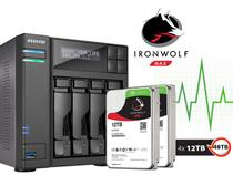 Backup Nas Com Disco Ironwolf Asustor As6204t48000 Intel Quad Core J3160 1,6ghz 4gb Ddr3 Torre 48tb -