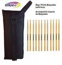 Bag Porta Baquetas semi-luxo c/ 6 pares de Baquetas - GTBAG