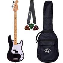 Baixo 4 Cordas SX SPB57 BK Preto Precision Bass Bag Correia - Shelter