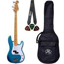 Baixo 4 Cordas SX SPB57 LPB Azul Precision Bass Bag Correia - Shelter