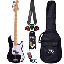 Baixo 4 Cordas SX SPB57 Preto Precision Bass Bag Acessórios - Shelter