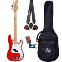 Baixo SX SPB57 Vermelho Precision Bass Bag Correia Afinador - Shelter