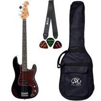 Baixo SX SPB62 Preto Precision Bass 4 Cordas Com Bag Correia - Shelter
