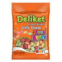 Bala de Goma Confeitada Deliket Jelly Beans Frutas Sortidas Ácidas 350g - Dori -