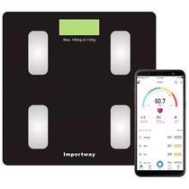 Balança Digital Bioimpedância Com Aplicativo Bluetooth 180kg Importway -