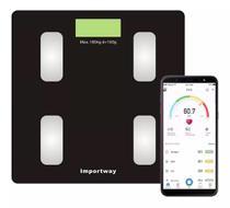 Balança Digital Bioimpedância Com Bluetooth Aplicativo Peso Corporal Gordura 180kg IWBDBIO001APP - ImportWay