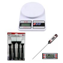 Balança Digital Cozinha 10kg + Termômetro Culinário e Kit Pincel Culinario - Magazinecuritiba