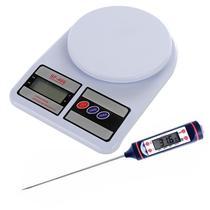 Balança Digital Cozinha Até 10 Kg + Termômetro Culinário - B-Max