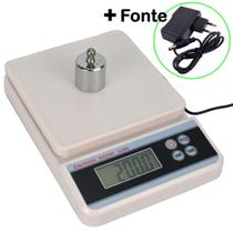 Balança Digital Precisão 5 kg Conta Peças com Fonte Branco CBRN11988 - Commerce Brasil
