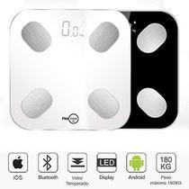 Balança Digital Smart Corporal Com Bioimpedância APP Android/IOS Branca - FlexInter Fit -