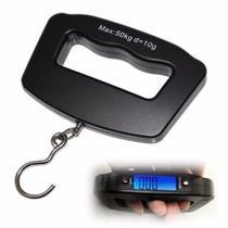 Balanca eletronica digital com iluminacao led para pescaria, viagem, mala, bagagem com gancho 50kg - Represent