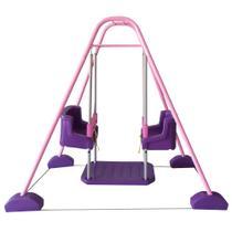 Balanço Duplo com Estrutura Rosa e 2 Cadeiras - Jundplay -