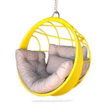 Balanço ninho confort amarelo cadeira suspensa teto feita em alumínio com fibra sintética para varanda área externa área de piscina - Realize Decor