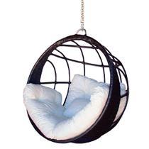 Balanço ninho confort preto cadeira suspensa feita em alumínio com fibra sintética para varanda área externa área de piscina - Realize Decor