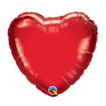 """Balão 04"""" Coração Solto Vermelho Rubi Metalizado - Festabox"""