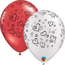 Balão 11 R Rubi/Perolado Bran Qualatex Solto Corações e Espirais - Pioneer Qualatex
