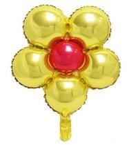 Balão flor dourado - 5un - Import