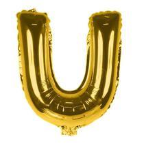 Balão Metalizado 18pol Letra U Dourado 01un - Mothelucci