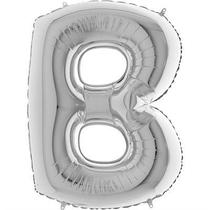 Balão Metalizado Prata Letra B - 1 Metro - Júpiter