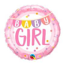 Balão Qualatex 18 R Diamante Bebê Menina Bandeirolas é Pontos - Pioneer Qualatex