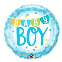 Balão Qualatex 18 R Diamante Bebê Menino Bandeirolas é Pontos - Pioneer Qualatex