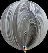 Balão Qualatex 30 R Agata Branco é Preto - Pioneer Qualatex