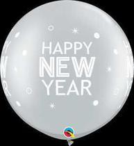 Balão Qualatex 30 R Prata New Year Brilhar é Pontos - Pioneer Qualatex