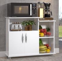 Balcão Armário Cozinha Microondas Bebedouro Rodinhas Branco - Clickforte