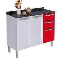 Balcão Cozinha Itatiaia Luce 3 Portas 2 Gavetas Branco/Vermelho IG3G2-105 -
