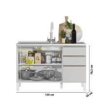 Balcão Cozinha MOOB Branco 3 Portas 2 Gavetas com Pia 120 cm - GHELPLUS
