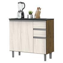 Balcão Cozinha Zanzini New Clean 3 Portas 2 Gavetas Nogal/Nevada - Zanzini móveis