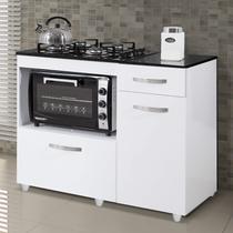 Balcão de Cozinha para Cooktop 2 Portas Violeta Kaiki Móveis Branco -