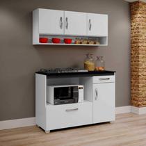 Balcão de Cozinha para Cooktop e Armário Aéreo Cronos Arte Móveis Branco -