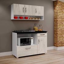 Balcão de Cozinha para Cooktop e Armário Aéreo Cronos Arte Móveis Nevada -